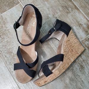 Toms Sienna Cork Wedge Heel  Black Sandals
